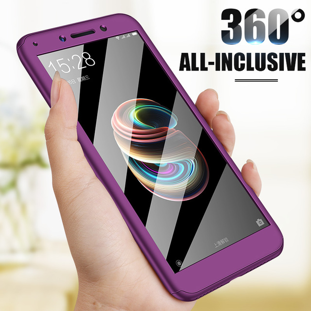 360 Degree Full Protective Phone Cases For Xiaomi F1 8 Cover Shockproof Cover For Redmi 6A 4X note7pro Case With Tempered Glass