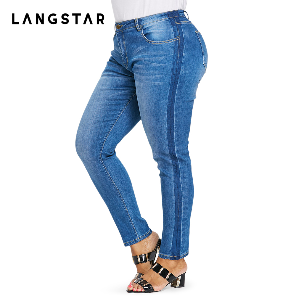 2018 New Arrived Plus Size Faded   Jeans   For Women Stretchy Pockets Denim Skinny Pants Trousers Big Size   Jeans   5XL XL Femme