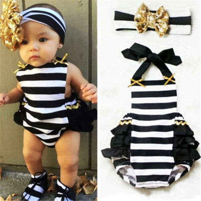 0-24M Toddler Newborn Baby Girl Stripe Ruffle Bodysuit Headband 2pcs Princess Sunsuit Jumpsuit Cute Casual Clothes Set