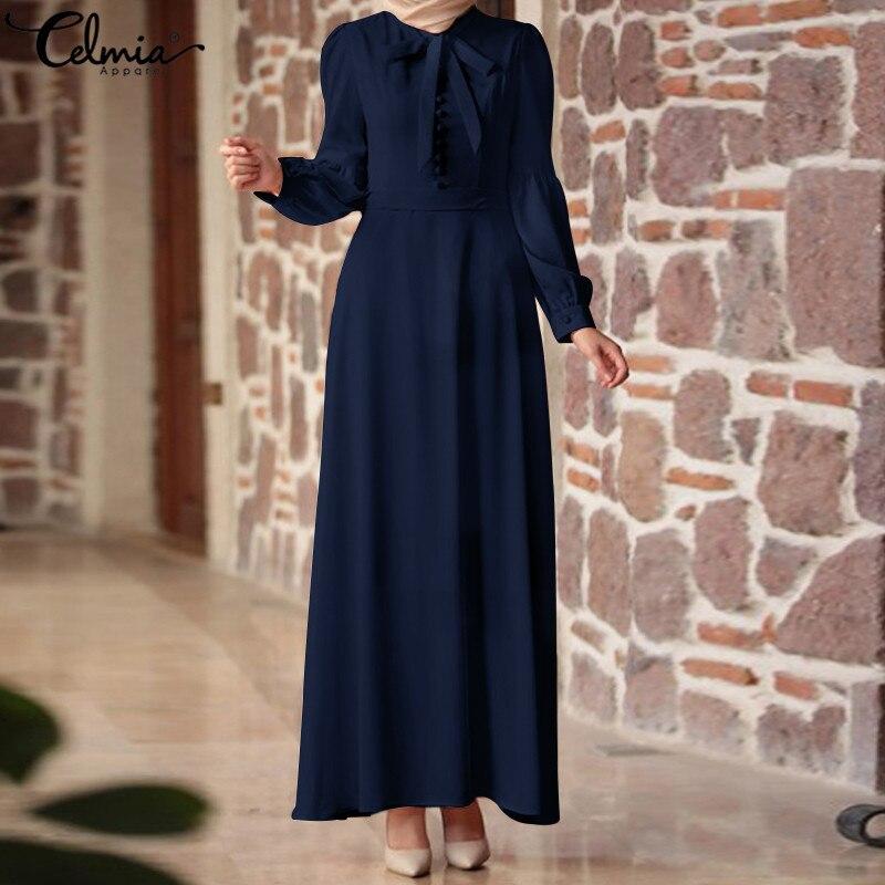 3c4422aa9f8 Celmia плюс Размеры Для женщин летнее платье 2019 Винтаж Лен Vestidos Повседневное  V ...
