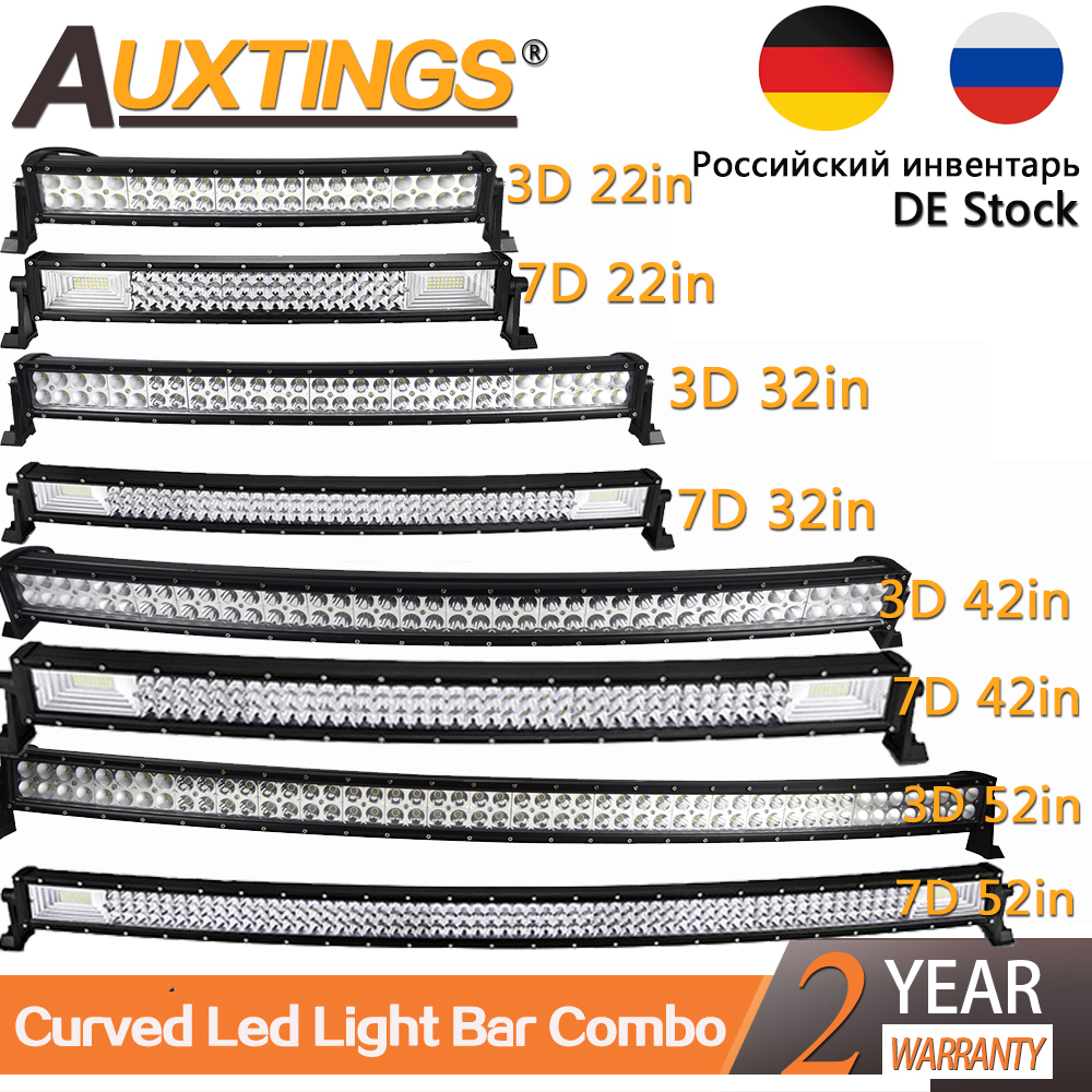 Auxtings 22 32 42 50 52'' Inch Curved Led Light Bar COMBO Led Work Light 3D 7D Bar Driving Offroad Car Truck 4x4 SUV ATV 12V 24V