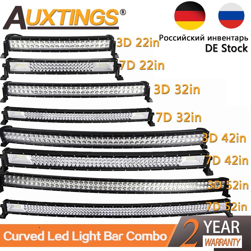 Auxtings 22 32 42 50 52'' Inch Curved Led Light Bar COMBO Led Work Light 3D 7D Bar Driving Offroad Car Truck 4x4 SUV ATV 12V 24V