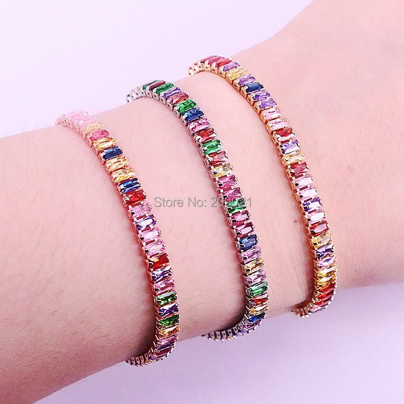 10Pcs Gold Silver Rose Gold Colorful Cubic Zirconia Tennis Link Chain Bracelet Fashion Gorgeous Women Girls