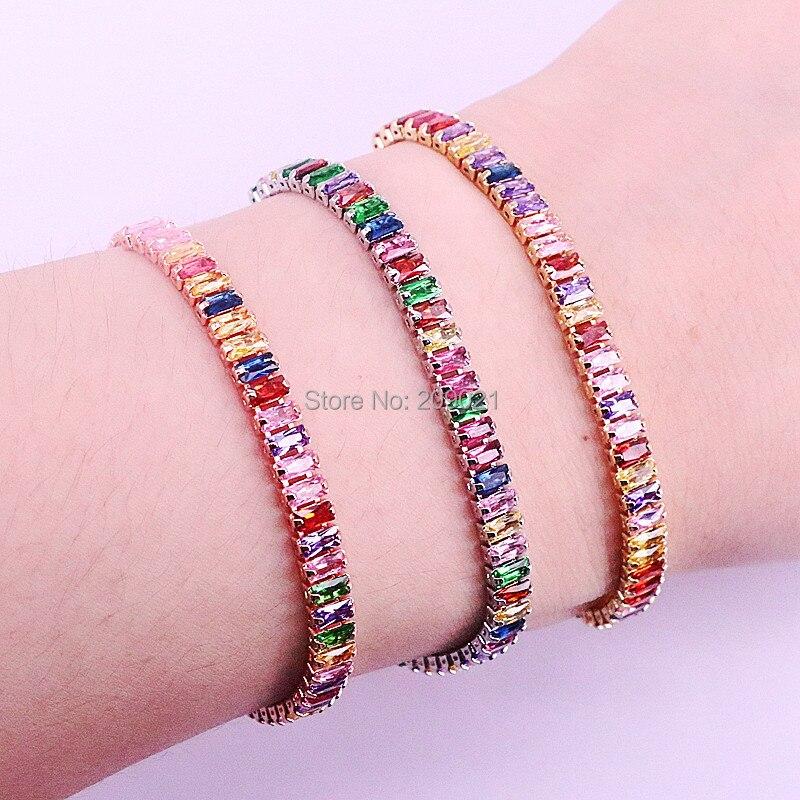 10 шт., золотой, розовое золото, разноцветный, кубический  цирконий, цепочка для тенниса, браслет, модные, великолепные, женские,  для девочек, регулируемые ювелирные изделияЦепочки и браслеты   -