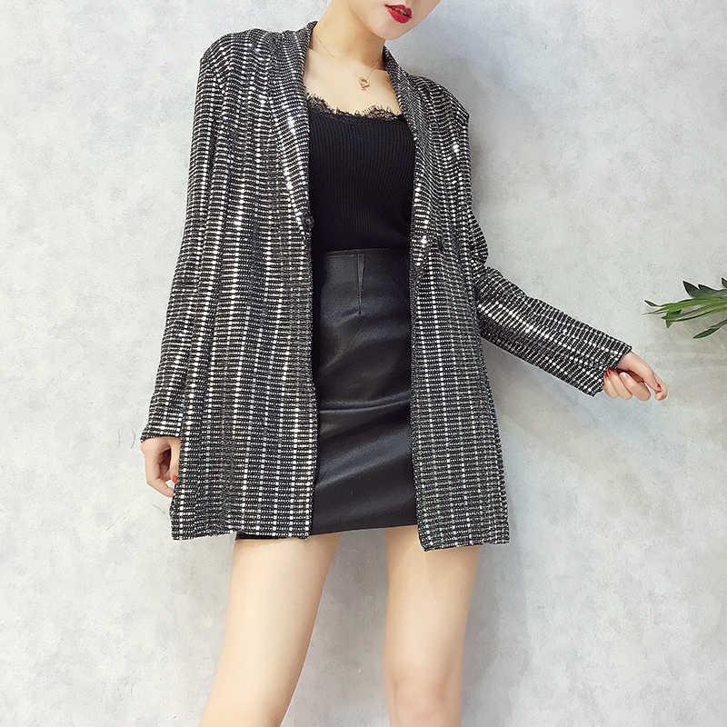 ... New Fashion 2018 Designer Blazer Women Long Sleeve Bling Sequined Long  Blazer Overcoat ... cf123e7ac1c1