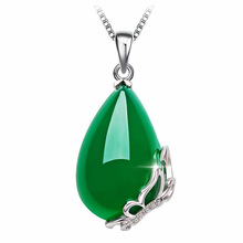 Green Jade Pendant S925 Sterling Silver Jewelry for Women Chalcedony Colgante Necklace Bizuteria Collier Amethyste Pendants 2019
