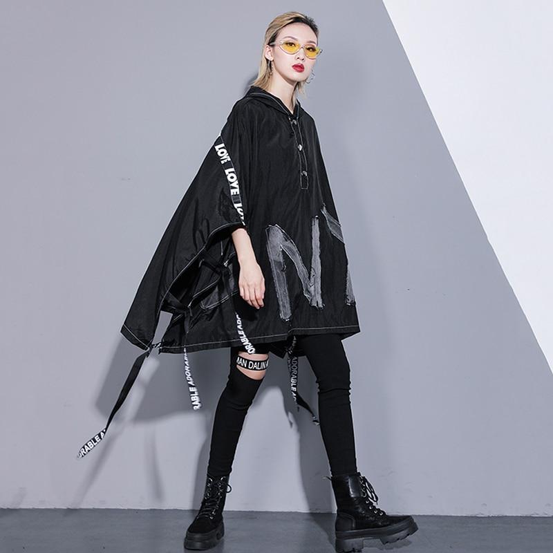 À De vent Grande 2019 Taille Jq473 Black Noir Printemps Manches Mode Coupe Lettre eam Longues Marée Tranchée Nouveau Femmes D'été Capuchon Ruban nTwqpdx6IP