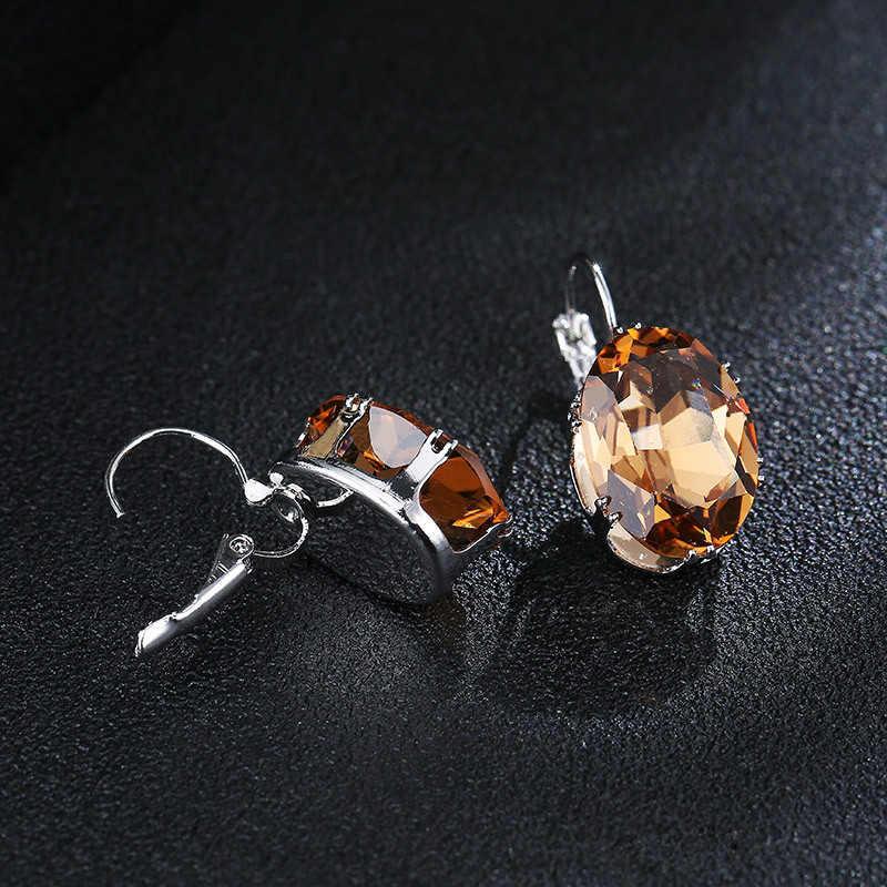1 زوج مجوهرات الأزياء النساء عيد الحب هدية الفضة حجر كبير قطرة الماء المعين البيضاوي جميلة كريستال الزركون انخفاض القرط