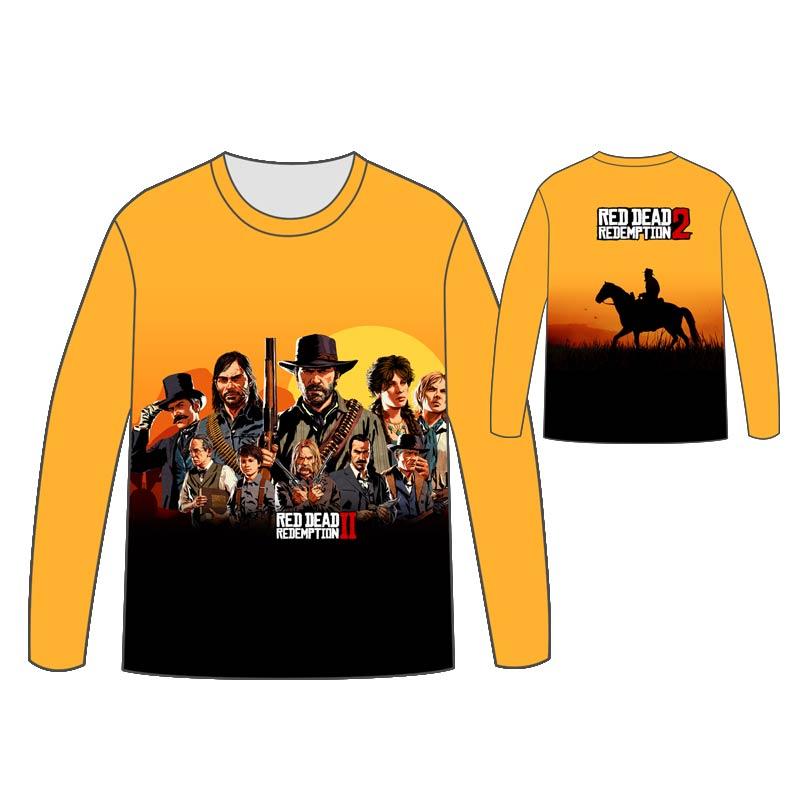 Hot Red Dead: Redemption T-shirt Men Tops Unisex Cosplay dress  Dead 2 Long sleeve concept T shirt Tees