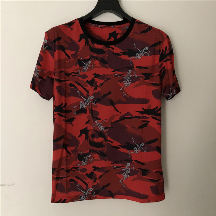 2019 New Fashion 19ss New Designer Arrival Print Red Camouflage Skull Tee T Shirt Short Sleeve Cotton Brand For Men
