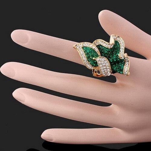 Высокая-класс качество тонкий поставки товаров со стразами зеленый кристалл кольцо Листья