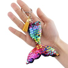 1pc Multicolor Sequins Mermaid Keychain for Kids DIY Charms Keyring Pendants Jewelry Accessories
