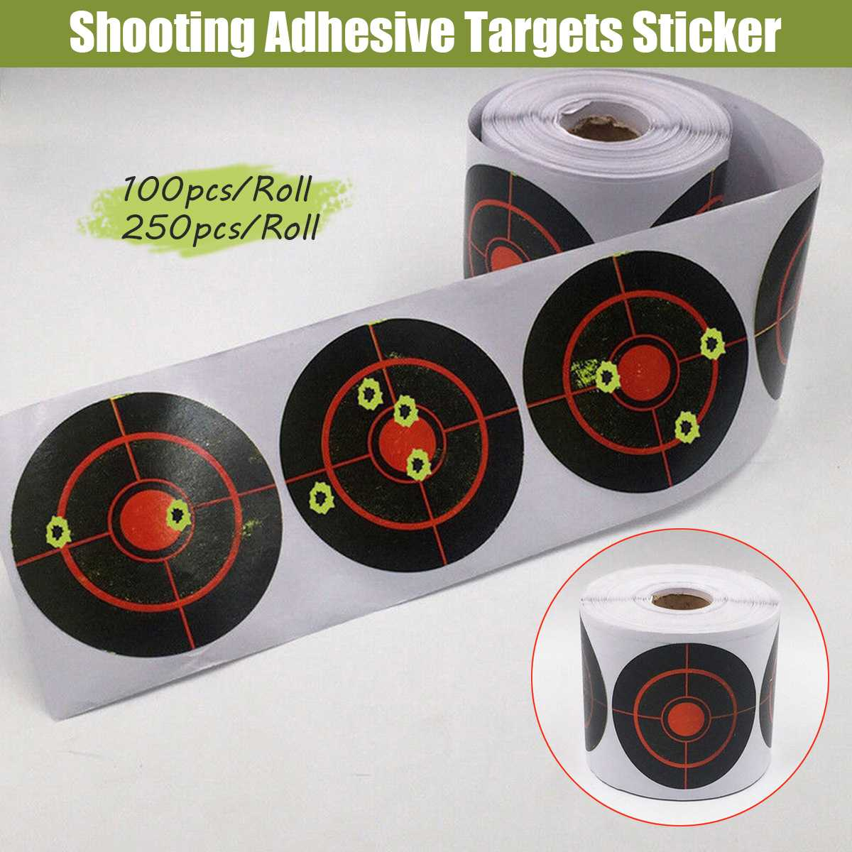 100/250pcs/Rol Shooting Adhesive Targets Splatter Reactive Target Sticker 7.5cm For Archery Bow Hunting Shooting Practice(China)