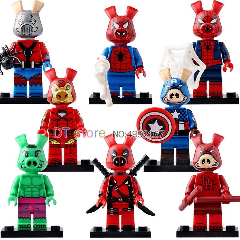 50 Pcs/Lot Legoed Marvel drôle cochon blocs de construction Spider-Verse Spider-Ham Ant-man minuit homme briques enfants jouets KT1023