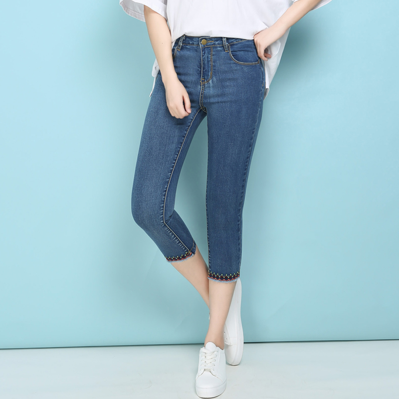 Summer Plus Size Skinny Capris Jeans Woman High Waist Stretch Embroidered Jeans Slim Short Jeans Mom Push Up Denim Shorts Pants