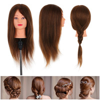 24 100% Wig Stand Real Human Hair Mannequin Head Hairdressing Training Head With Table Clamp Stand Hairdresser Practice Tool