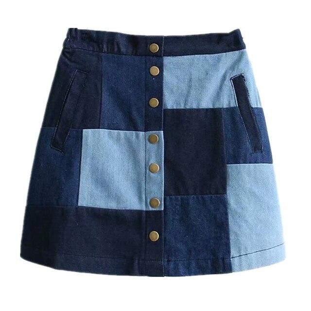 2019 נשים ג 'ינס חצאית גבוהה מותן טלאי כפתורי ג' ינס מיני חצאית מורי ילדה ג 'ינס חצאית