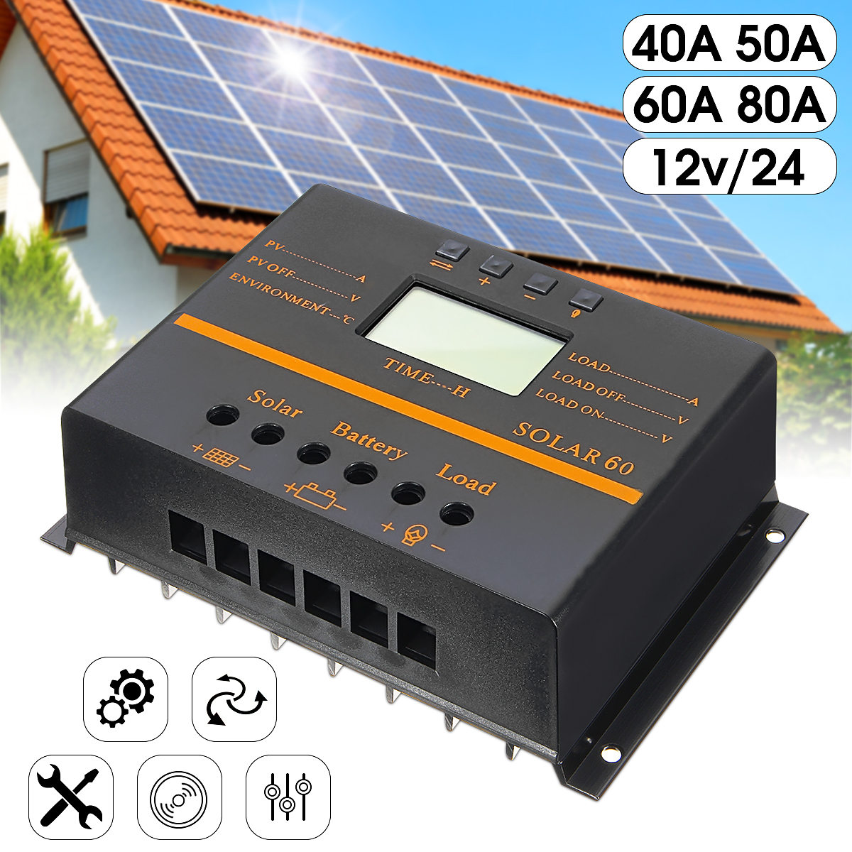 12V/24V Auto LCD Display Solar Panel Charge Controller Battery PWM Regulator USB 40A/50A/60A/80A Overload Protection Automatic
