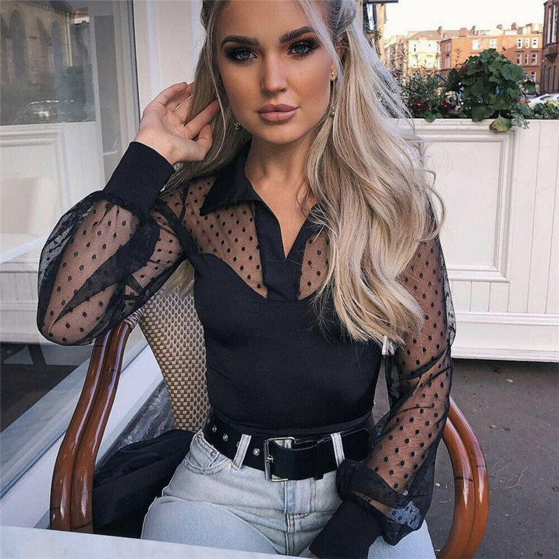 Aspiring 2019 Fashion Women Mesh Sheer Lace Black Blouse Ladies Summer Long Sleeve Sexy Vest White Tops New Arrival Polka Dot Blouses Hot Sale 50-70% OFF Women's Clothing