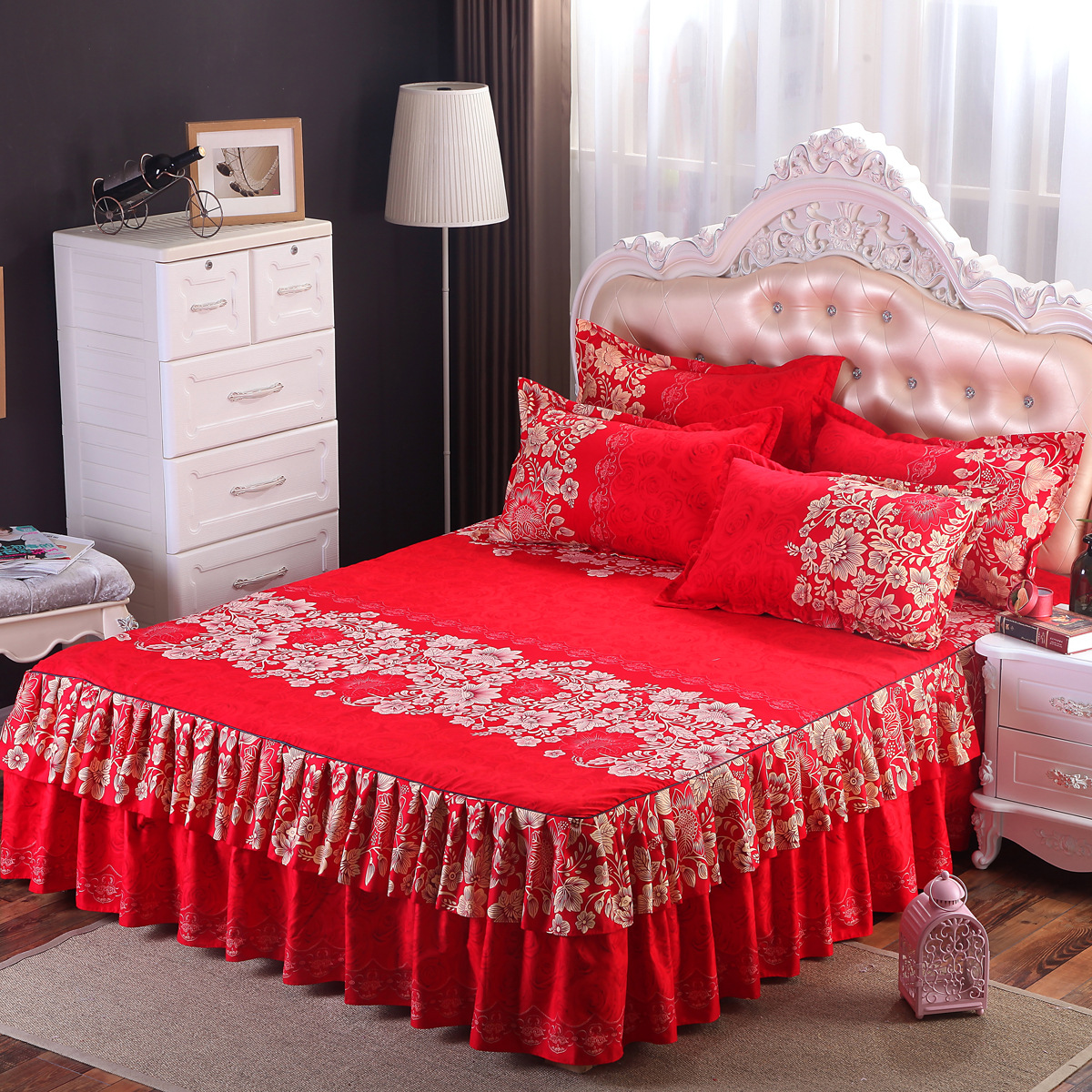 Permalink to Bed skirt high quality cotton polyester purple flower bedspread  bed matter cover   bedding bed skirts bed cover