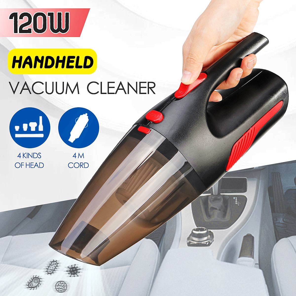 Portable 4m Cord Length Handheld Car Vacuum Cleaner Wet/Dry Vaccum Cleaner For Car Home 120W 12V 5000PA