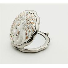 Винтаж с украшением в виде кристаллов круглый со складным зеркалом Серебряный компактный кошелек Для женщин макияж зеркало античное карманное зеркало
