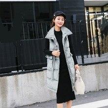 Invierno Collar chaleco largo Chaleco de las mujeres solo Breasted sólido  chaqueta bolsillos casuales de mujer de tela de tercio. 9eeba6812761