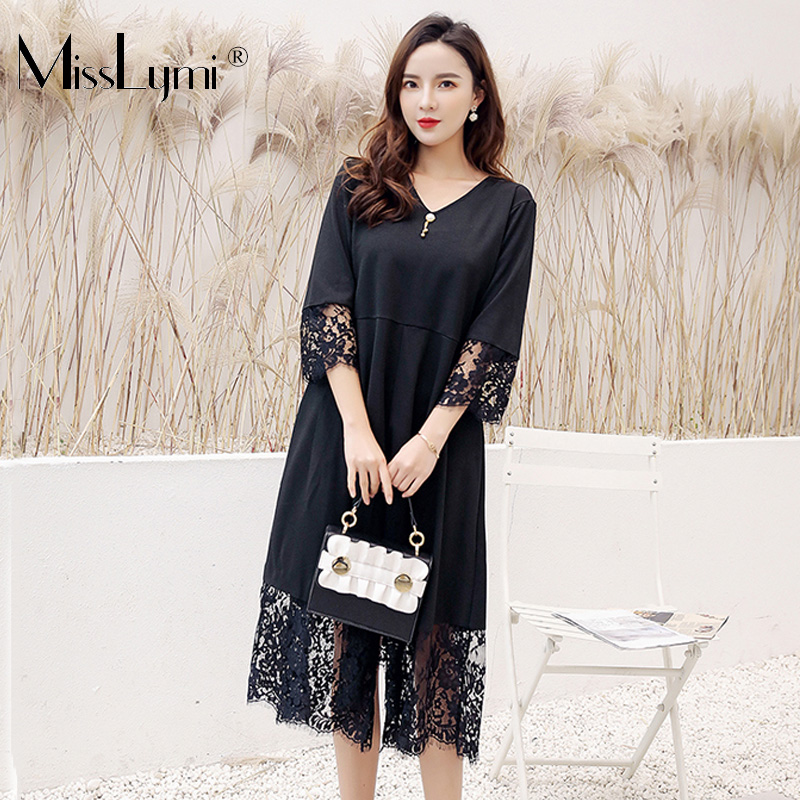 XL-5XL Plus Size Black Lace Dress Women Clothes Summer 2019 Sexy V-neck Backless Patchwork Lace Loose Casual Midi Dresses