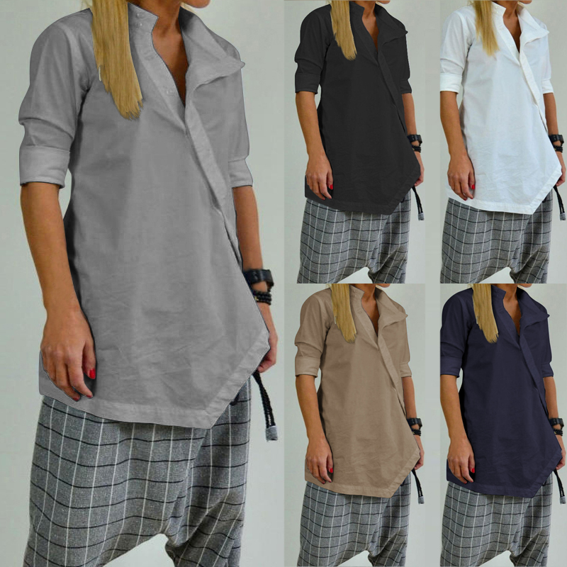 Celmia Women Long Shirts  Casual Loose Tunic Tops  1