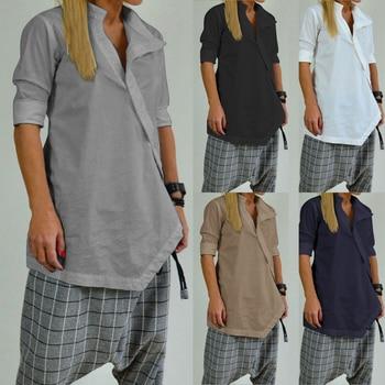 Celmia Women Long Shirts  Casual Loose Tunic Tops  1