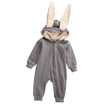 Solid Long sleeve Zipper Up Bunny Tail Baby Rompers For Boys Rabbit Easter Clothing 1