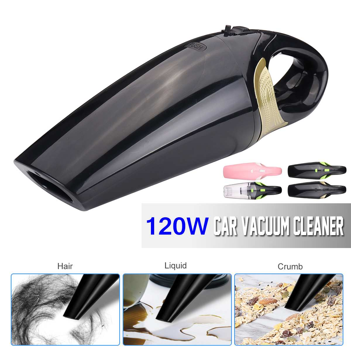 120W Handheld Car Home Cordless Rechargeable Dust Vacuum Cleaner Dry Wet Use Colors Detachable For Car House Cleaning Filtration120W Handheld Car Home Cordless Rechargeable Dust Vacuum Cleaner Dry Wet Use Colors Detachable For Car House Cleaning Filtration