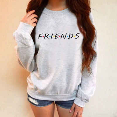 Womens FRIENDS Print Hoody Sweatshirt Ladies Casual Pullover Jumper Tops Loose Letter Comfort Female Coats Outwear