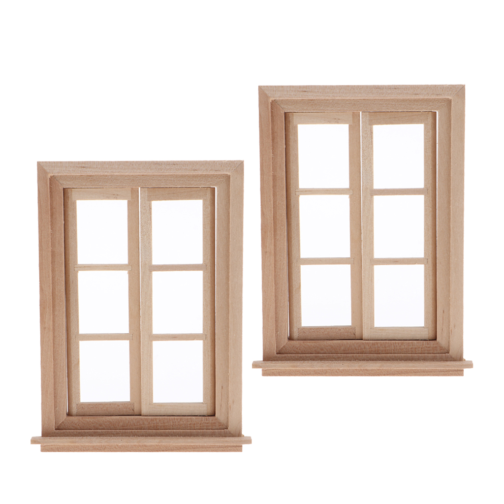 MagiDeal 2 Set 1/12 Dollhouse 6 Pane Double Window Frame, Light Yellow