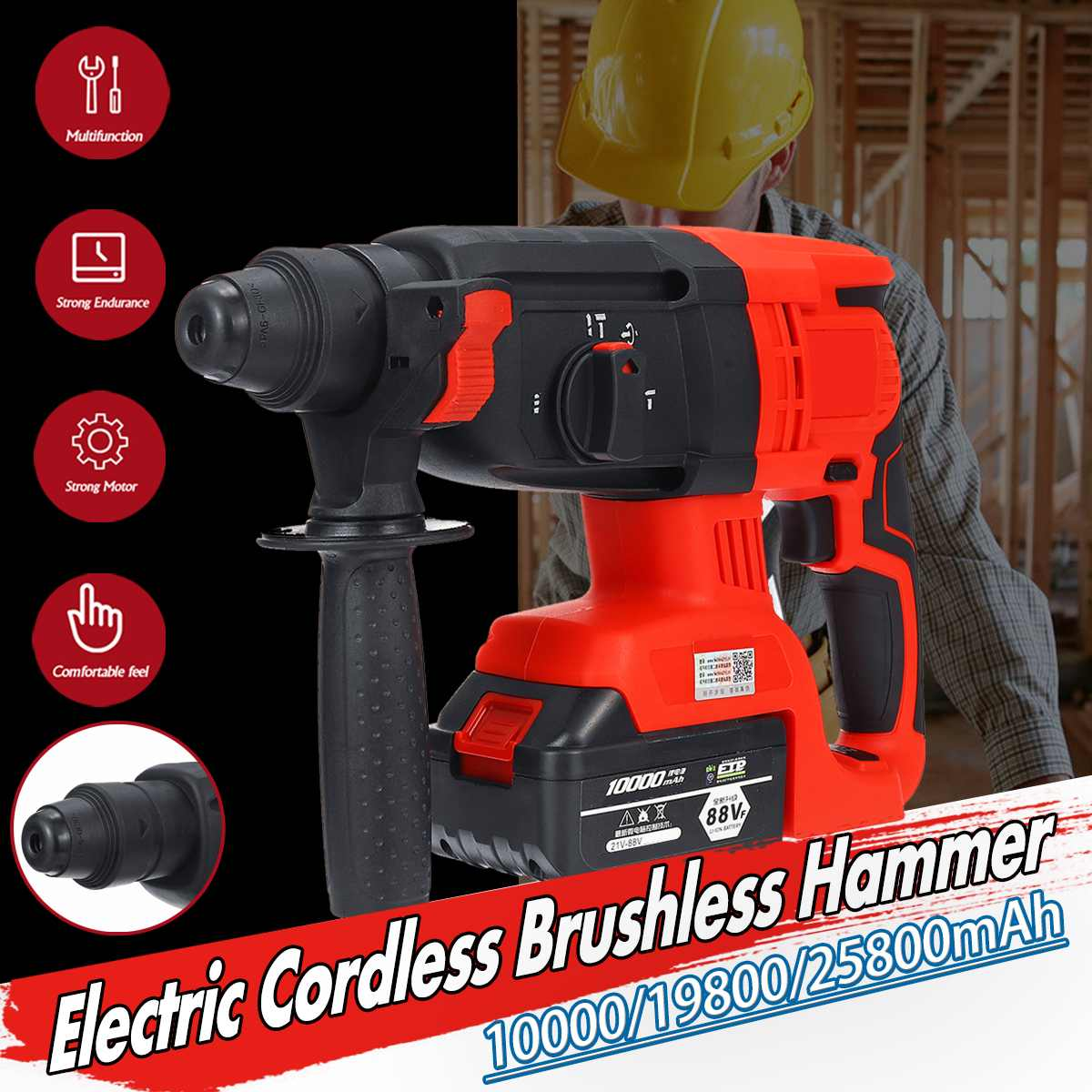 3 IN 1 88V/128V/228V Electric Brushless Hammer Cordless Power Impact Drill With Lithium Battery Power Drill Electric Drill