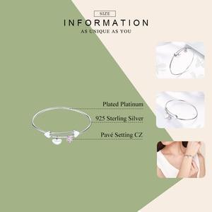 Image 2 - WOSTU 2019 klasyczne prawdziwe 925 Sterling srebrne dla zakochanych serca różowa cyrkonia bransoletki dla kobiet bransoletki ślubne biżuteria przyjaźni CQB124