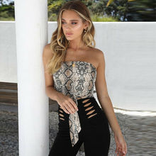 Sexy Womens Off Shoulder Snake Print Front Tie Bow Bandage Crop Wrapped Tube Top