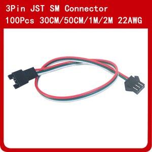 Image 2 - 100 adet 3 pin JST SM konektörü 30cm 50cm 1m 2m Led erkek dişi fiş LED konnektör kablo tel için WS2812B WS2811 SK6812 LED şerit
