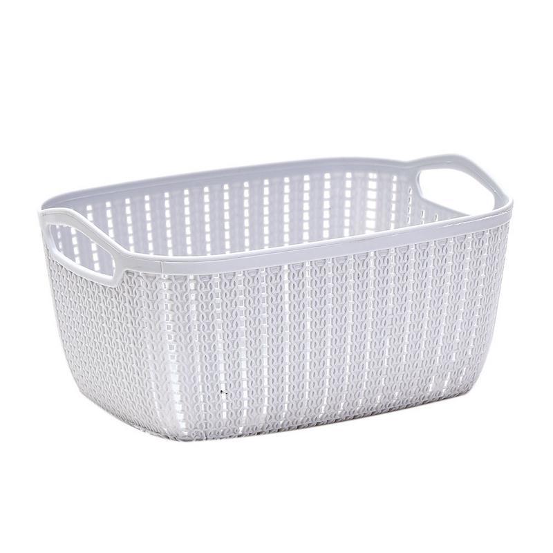 Plastic Rectangular Storage Basket With Handle Portable Rattan Paper Pen Debris Storage Bucket Home Decoration Gift Cosmetic in Storage Baskets from Home Garden