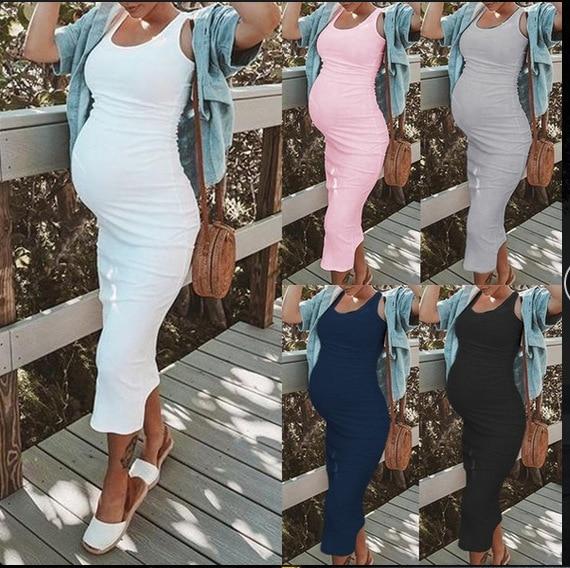 2019 Summer Women Solid Sexy Sheath Pregnant Sundresses Sleeveless Pregnancy Dress Maternity Dresses Pregnant Clothes Dresses Aliexpress