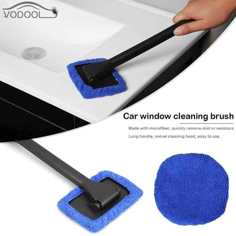 Cepillo de microfibra de mango largo para limpieza de ventanas y cristales de automóviles, limpiador de parabrisas, herramientas de cuidado de estilismo para el coche, accesorios para el coche