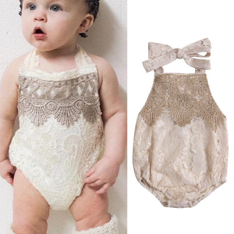 Infant Baby Girls Sleeveless Lace Romper Belt Lace Floral Tassel Backless Jumpsuits