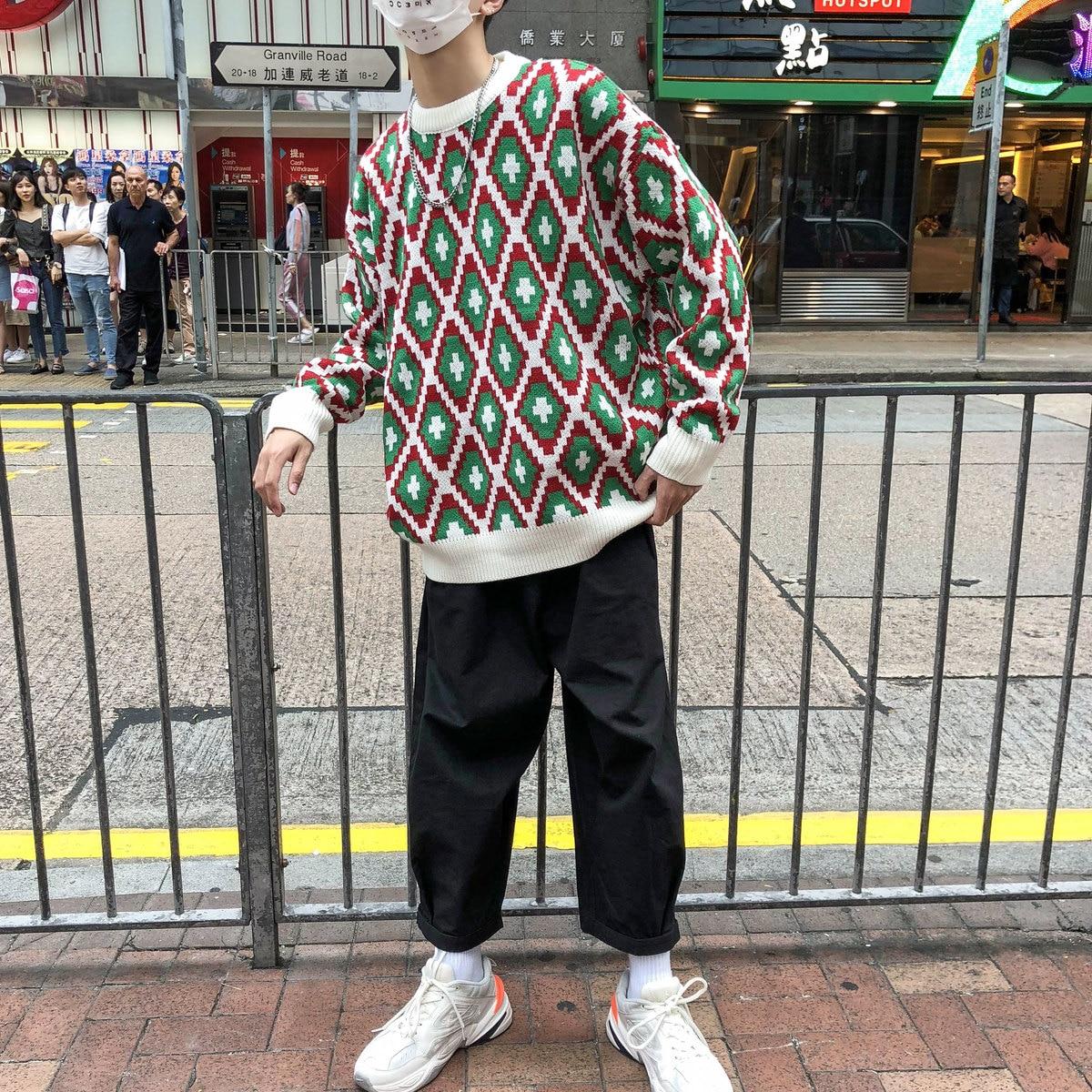 Hiver 2xl Motif Col M Pull En Marque À Rond Laine 2018 Tricoter Homme Occasionnel Hommes Géométrique Cachemire Lâche White Épaississent ARw6dUxqX