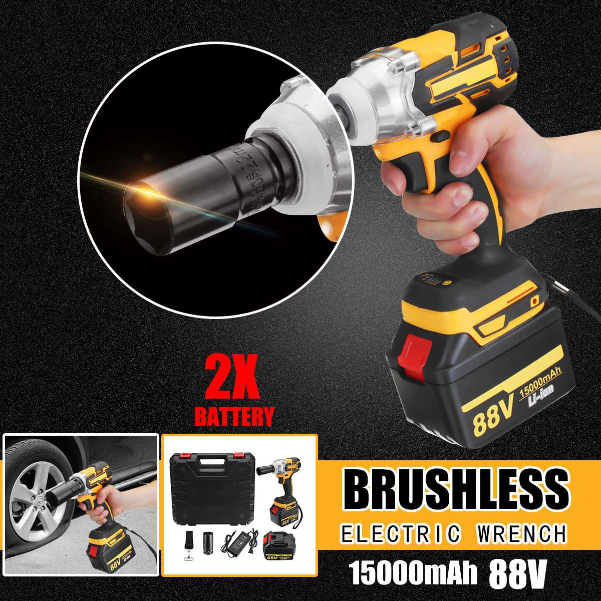 88V 15000mAh Rechargeable Battery Brushless Electric Impact Socket Wrench Car Dual Speed Cordless Socket Electric Impact Drill tenwa20v brushless electric impact wrench cordless rechargeable lithium battery socket impact digital electric wrench