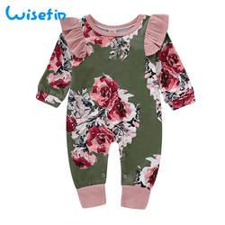 Wisefin/хлопковый комбинезон для новорожденных девочек с оборками на рукавах, детские комбинезоны, зимняя одежда для маленьких девочек