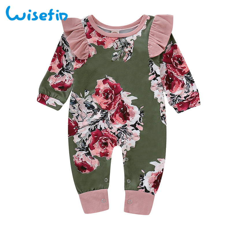 Wisefin Cotton Newborn Baby Girl   Romper   Ruffle Sleeve Baby   Rompers   Winter Baby Girls Clothes Toddler Girl   Romper   Infant Jumpsuit