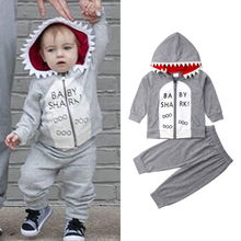 цена Hot Cute New Toddler Kids Baby Boy Shark Clothes Zipper Hoodie Tops Pants Outfits 2Pcs Set
