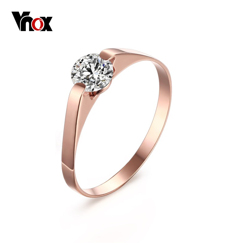 Vnox Women's Rose Gold-Color Ring Trendy Cubic Zircon Stone Engagement Rings for Girl