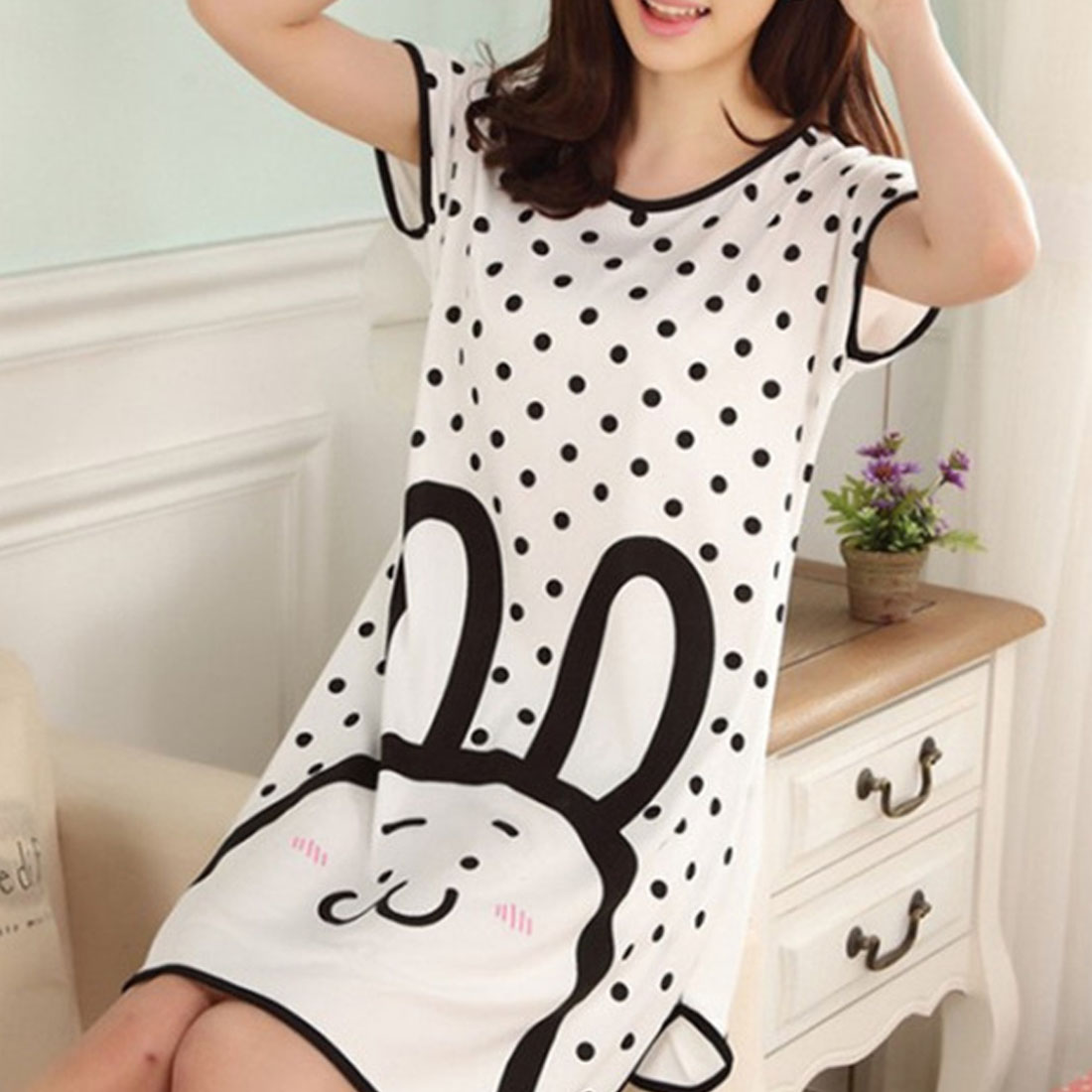 Large Size Oversized Nightdress Womens Summer Short Sleeve Sleep Dress Young Girl 2019 Lovely Cartoon Pattern Printed   Sleepshirt