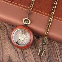 Wooden Mechanical Pocket Watch Automatic Self Wind Pendant Watch Open Face Fob Pocket Clock Gifts for Men Women Luxury reloj